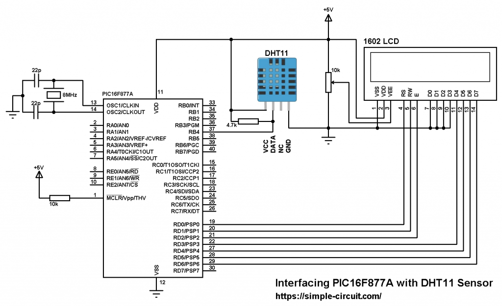 PIC16F877A DHT11 sensor and LCD circuit