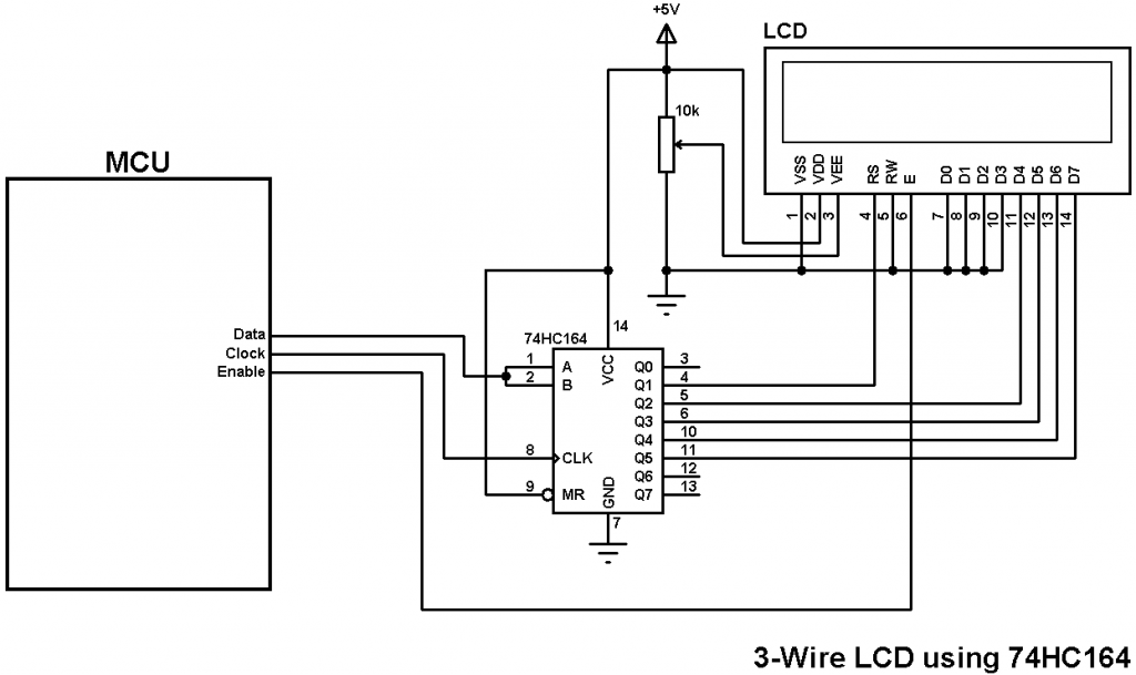 3-wire LCD using 74HC164 shift register