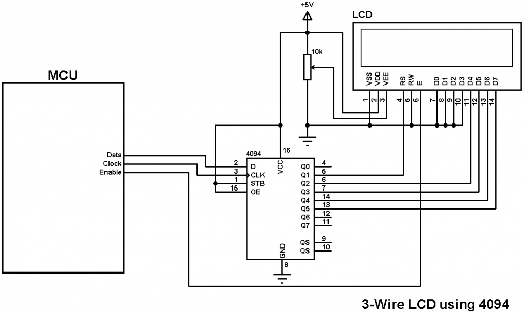 3-wire LCD using HEF4094 shift register