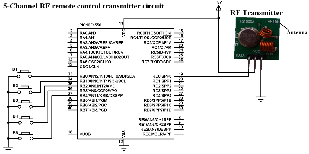 RF remote control transmitter circuit 433MHz 315MHz