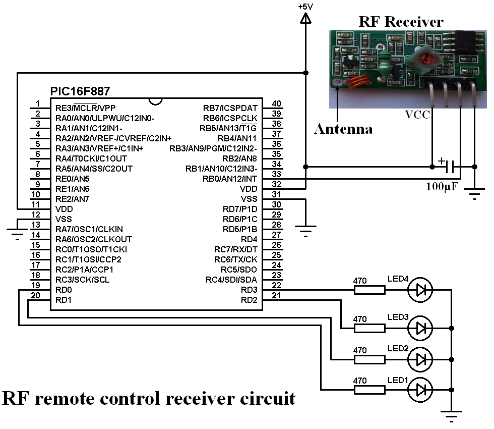 RF Transmitter and receiver system using PIC16F887