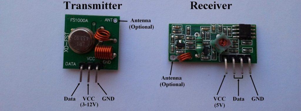 433MHz RF transmitter and receiver modules