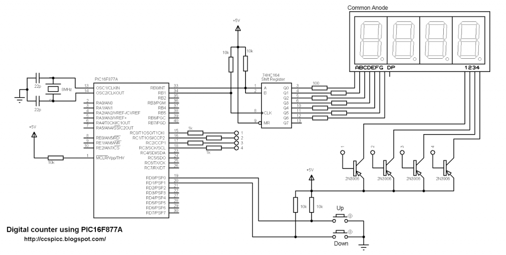 PIC16F877A with 7-segment display and shift register circuit