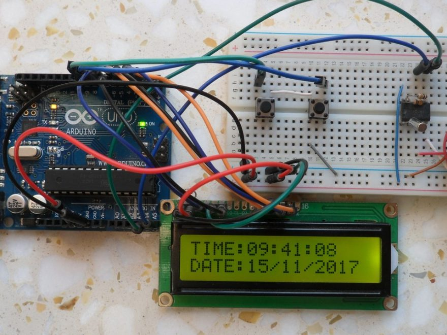 Arduino real time clock with DS1307, LCD and set buttons