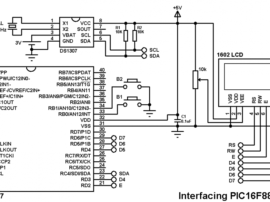 PIC16F887 DS1307 real time clock with buttons circuit