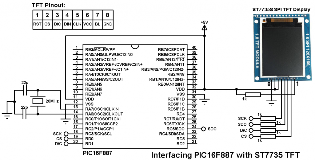 PIC16F887 ST7735S TFT display circuit
