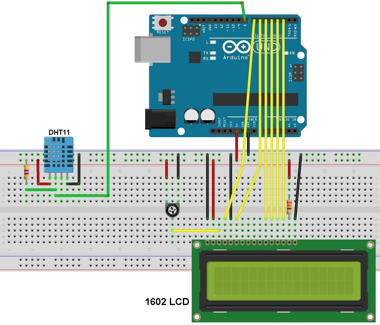 arduino interfacing with dht11 sensor and lcd simple projects  arduino dht11 sensor and lcd circuit