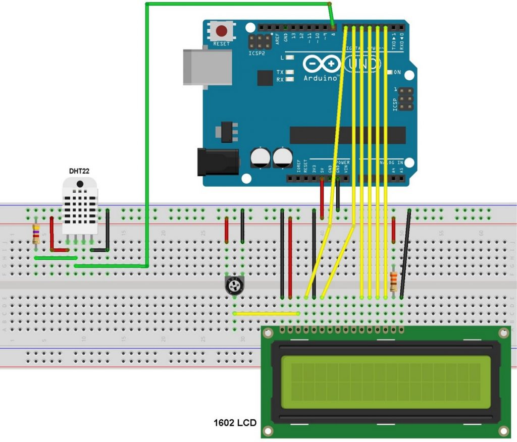 Arduino DHT22 LCD interfacing circuit