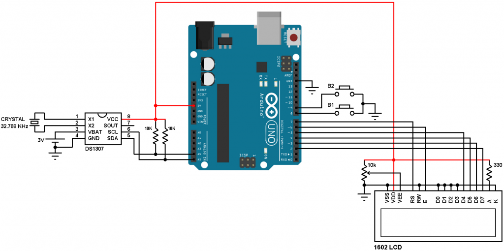 Arduino DS1307 LCD and set buttons circuit
