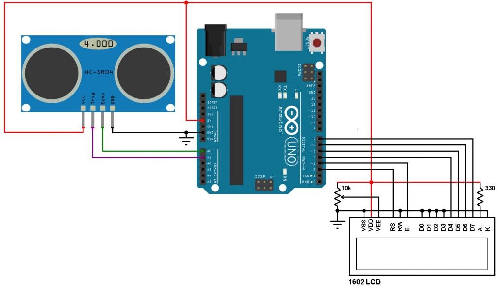 Arduino HC-SR04 ultrasonic sensor circuit
