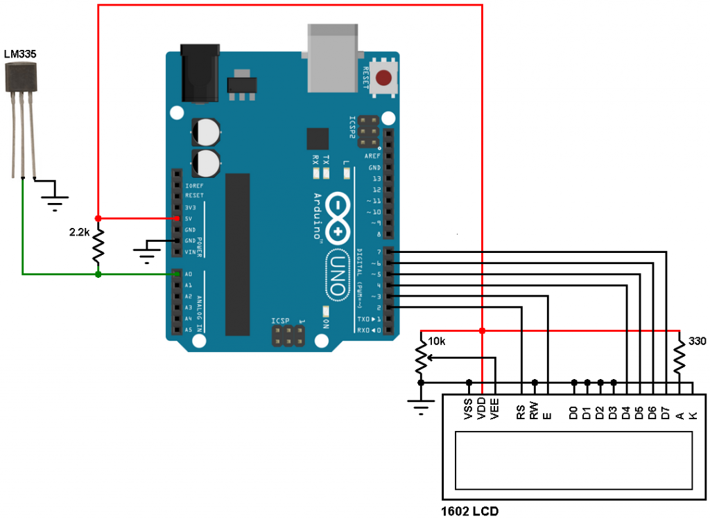 Arduino LM335 temperature sensor circuit
