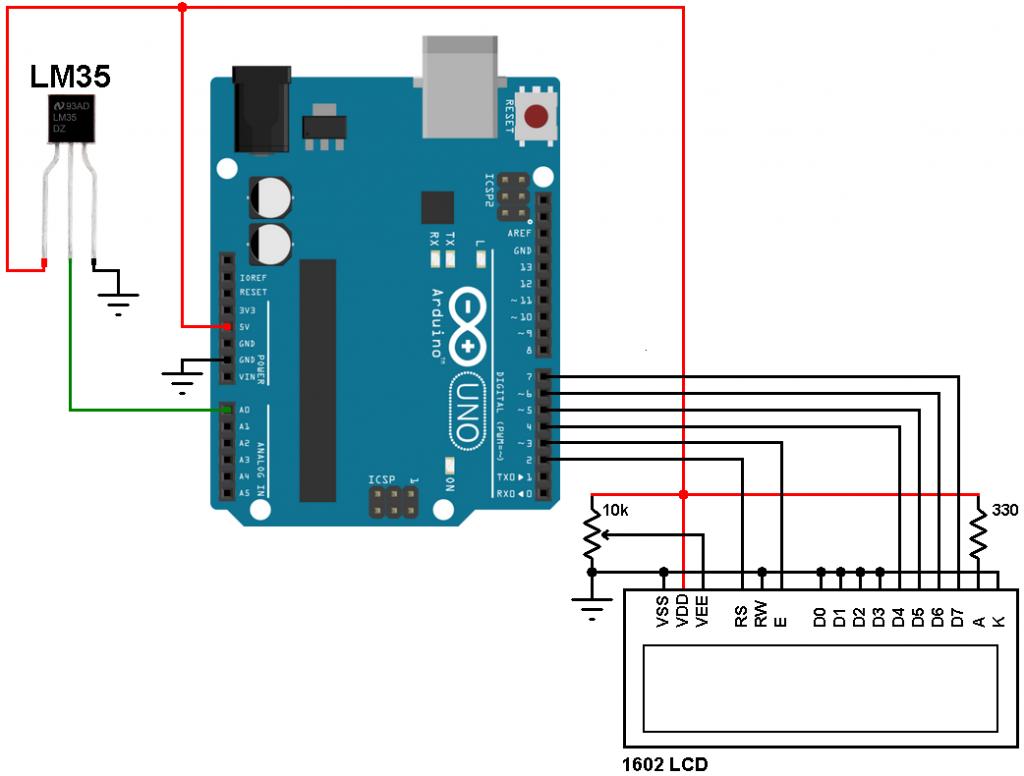 Arduino LM35 temperature sensor circuit
