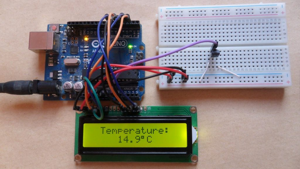 Arduino uno with LM35 sensor and 16x2 LCD