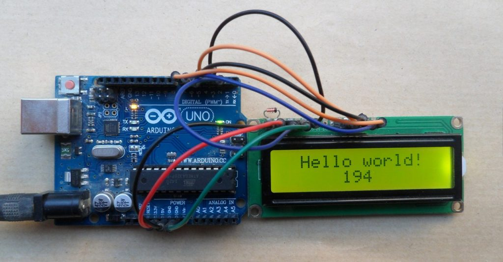 Arduino uno with 1602 LCD screen