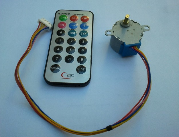 Unipolar stepper motor with Car MP3 remote control