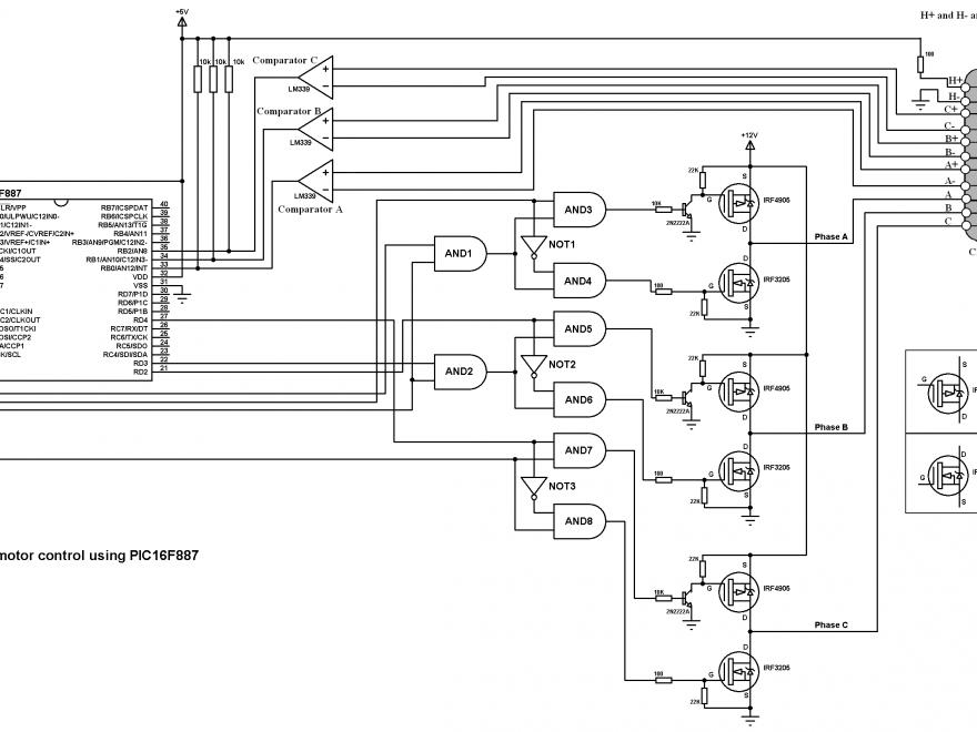 PIC16F887 BLDC motor control CD-ROM circuit