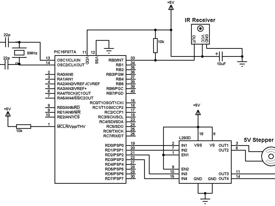 PIC16F877A stepper motor remote control circuit