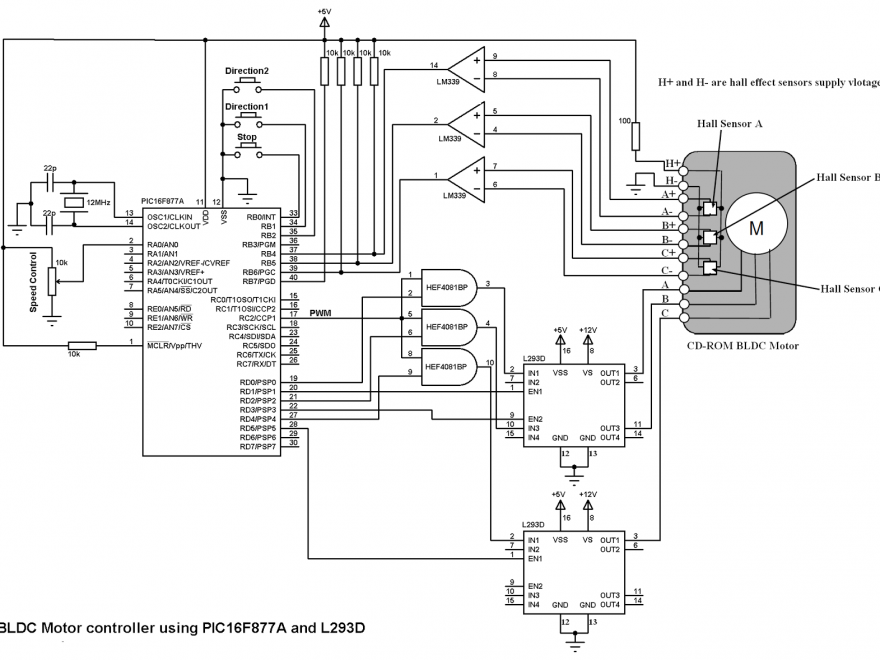 PIC16F877A BLDC L293D motor driver circuit