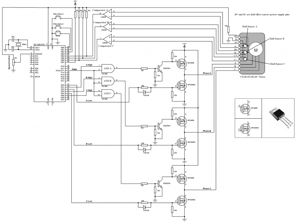 PIC18F4550 BLDC motor drive circuit