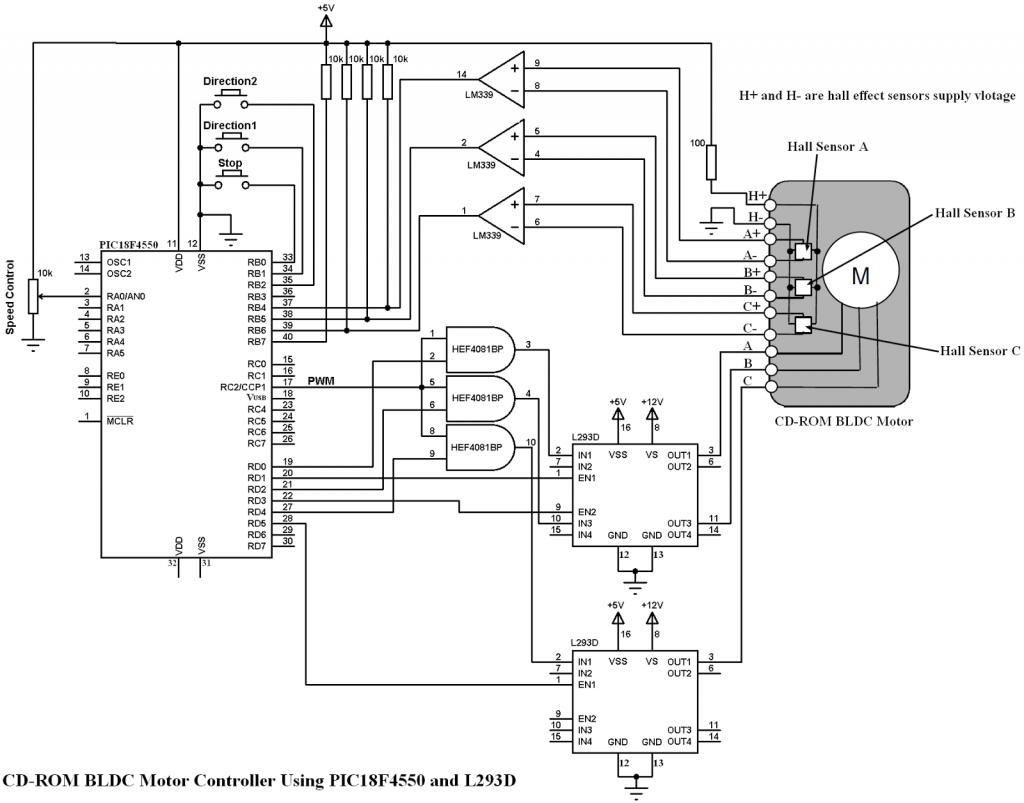 PIC18F4550 L293D brushless DC motor ESC circuit