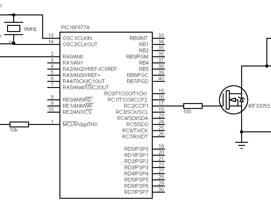 PIC16F877A DC motor speed control circuit
