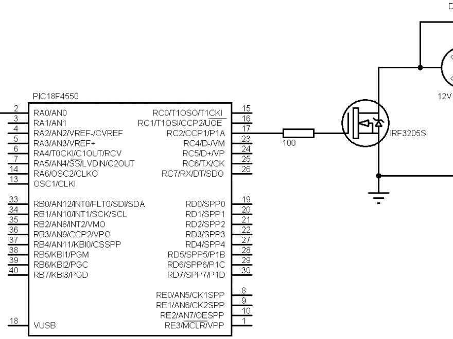 PIC18F4550 DC motor speed control circuit
