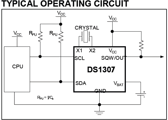 DS1307 RTC basic circuit