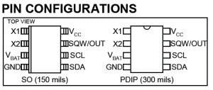 DS1307 RTC pin configuration
