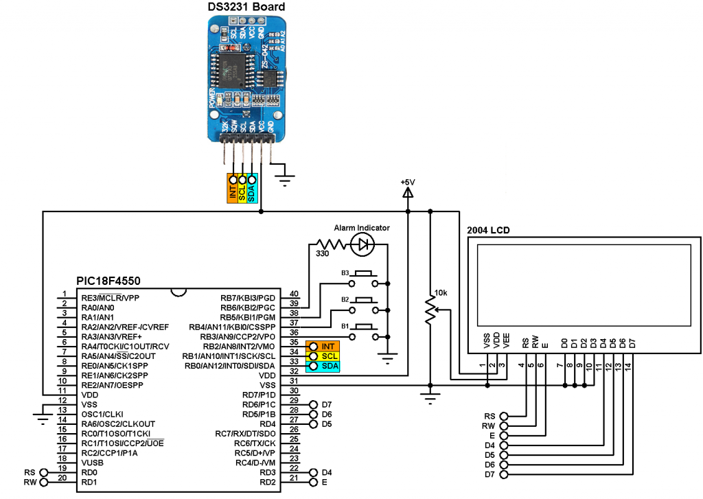 ds3231 real time clock with 2 alarms and temperature