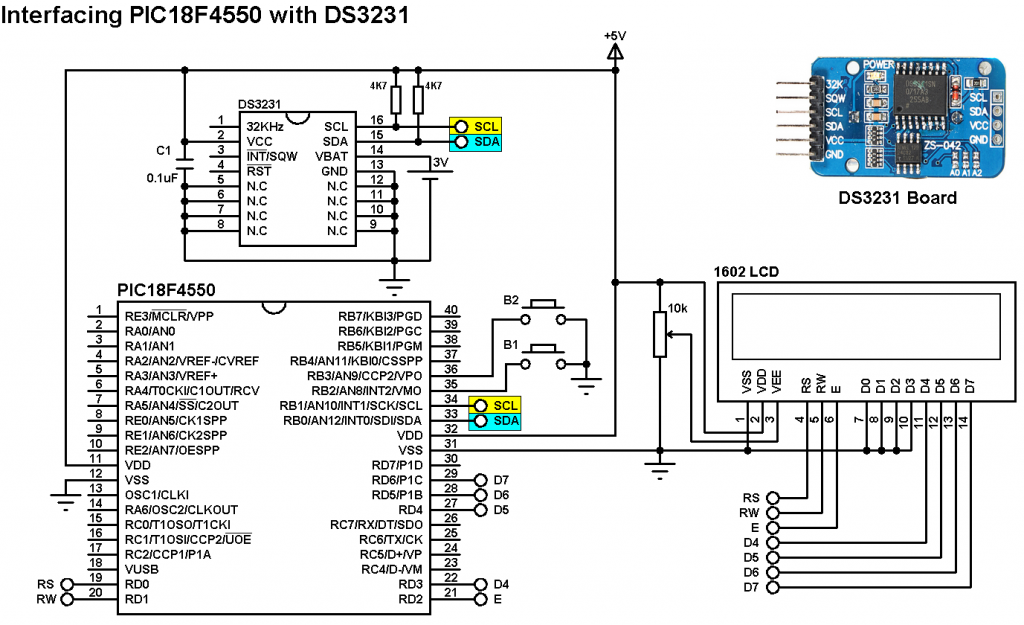 PIC18F4550 DS3231 real time clock calendar circuit