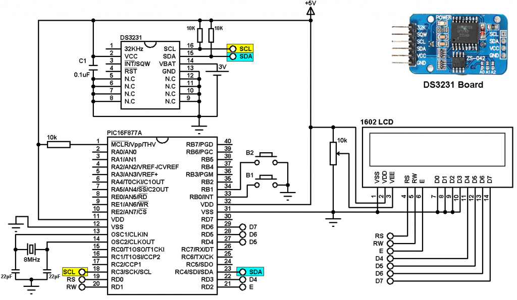 PIC16F877A DS3231 real time clock with buttons circuit