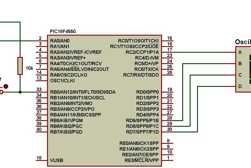 PIC18F4550 PWM ECCP full bridge circuit