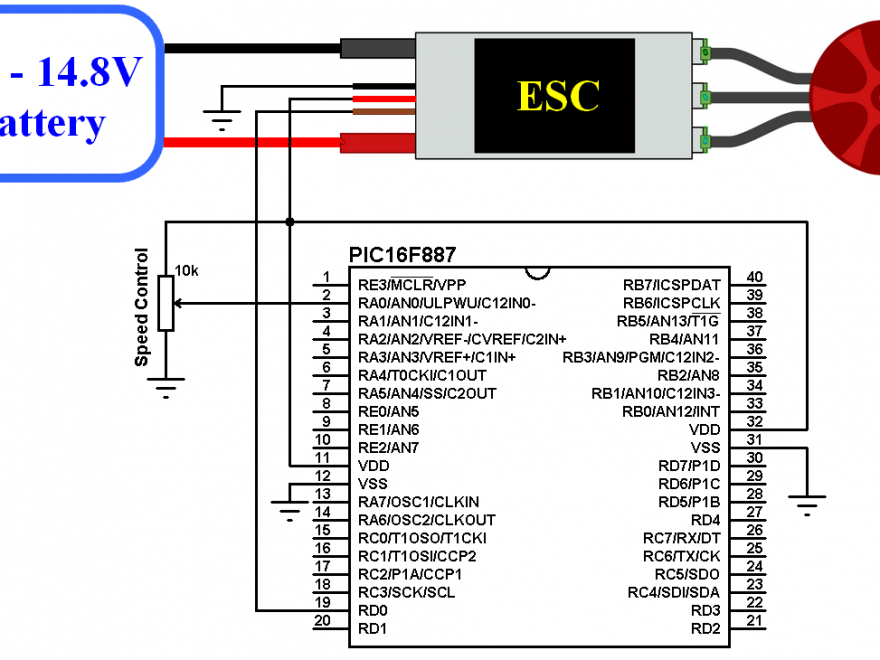 ESC BLDC motor control with PIC16F887 - Electronic Speed Controller