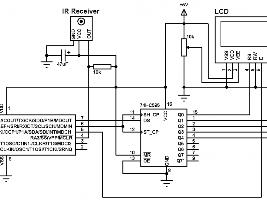 PIC12F1822 Extended NEC protocol decoder circuit