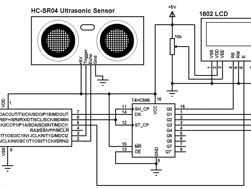 Distance meter with PIC12F1822 and HC-SR04 circuit