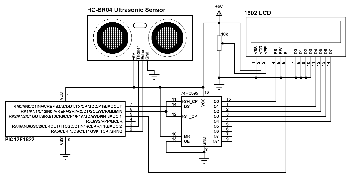 distance meter using pic12f1822 and hc-sr04 sensor