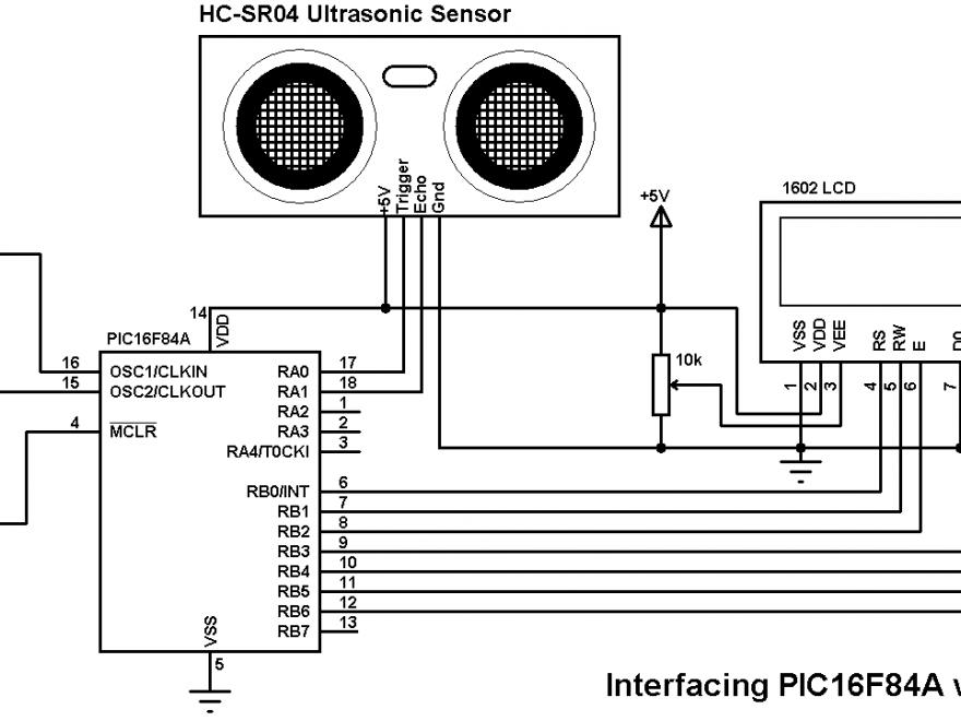 PIC16F84A HC-SR04 ultrasonic sensor circuit