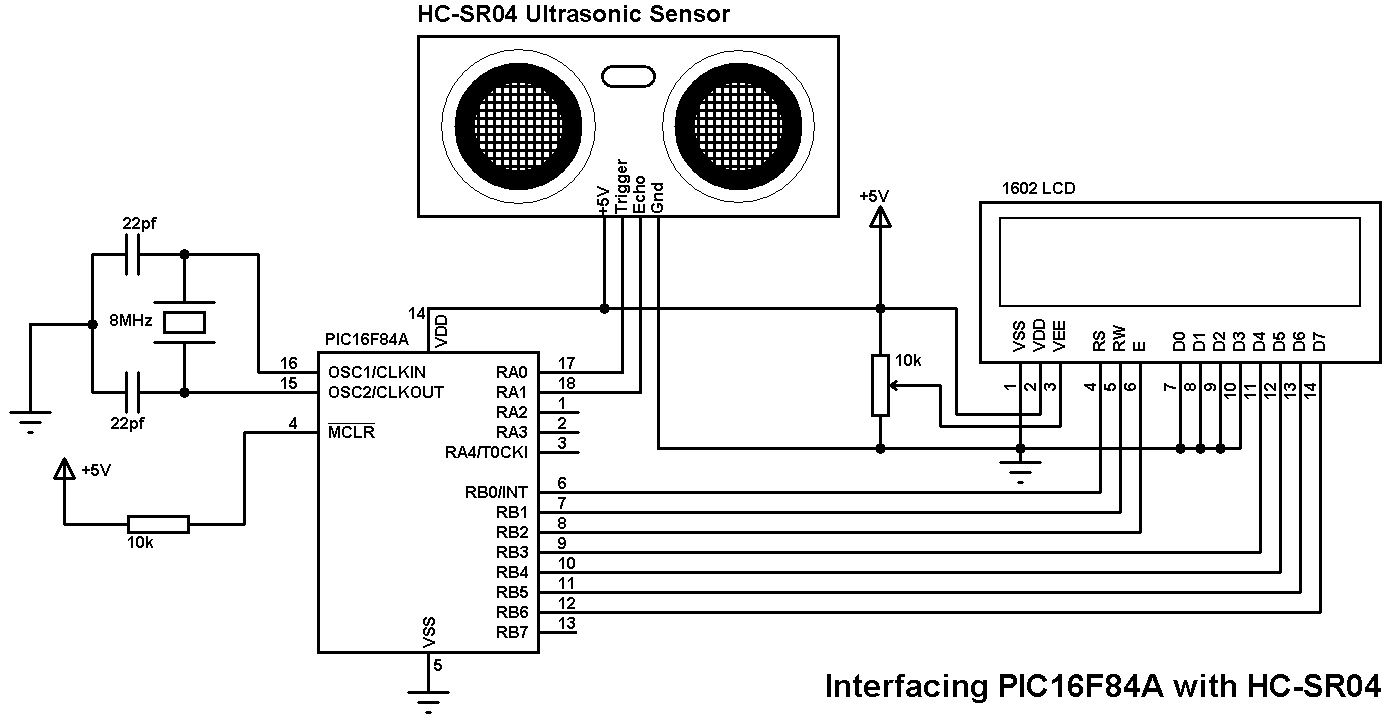 Ultrasonic Sensor Circuit Diagram Schematic Diagrams Ir Receiver And Remote Learnparallaxcom Pic16f84a With Hc Sr04 Example Ccs C Speaker