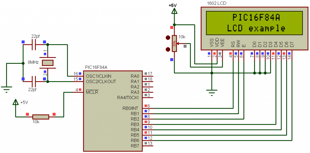 PIC16F84A LCD example circuit