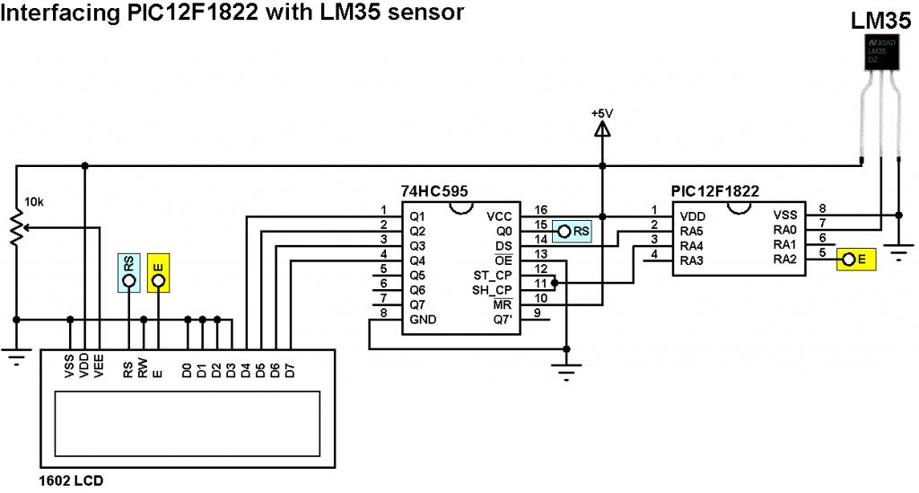 PIC12F1822 LM35 temperature sensor circuit