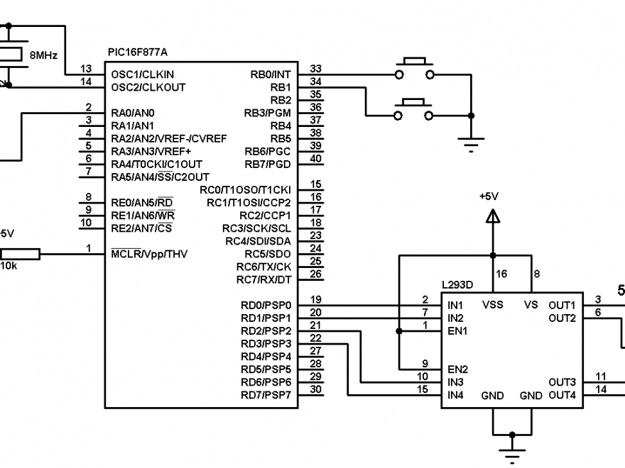 PIC16F877A bipolar stepper motor interface circuit