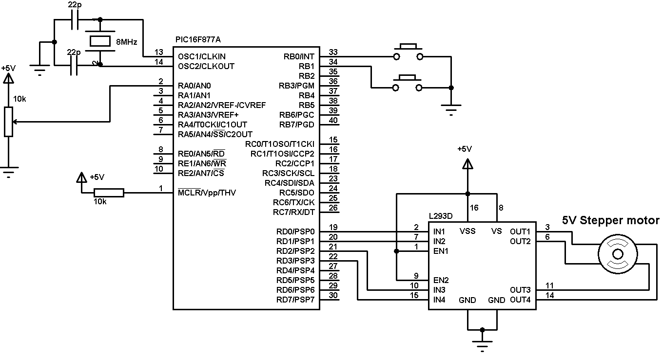 Bipolar Stepper Motor Control With Pic16f877a Microcontroller