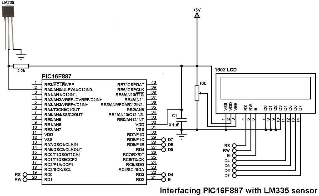 PIC16F887 LM335 temperature sensor circuit