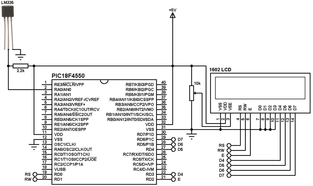 PIC18F4550 LM335 temperature sensor circuit
