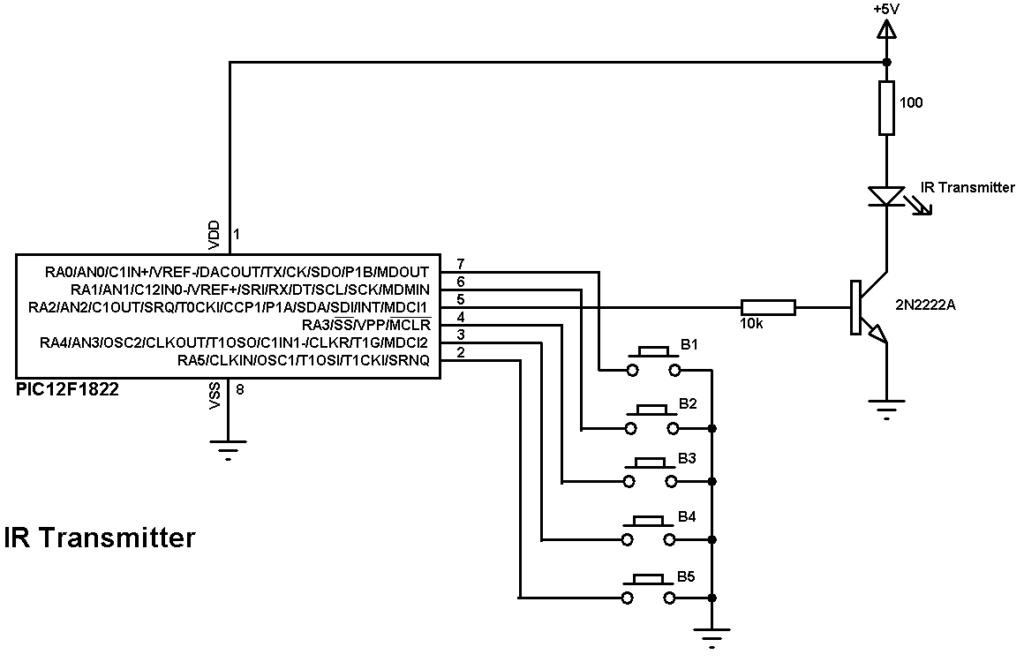 IR remote control transmitter circuit