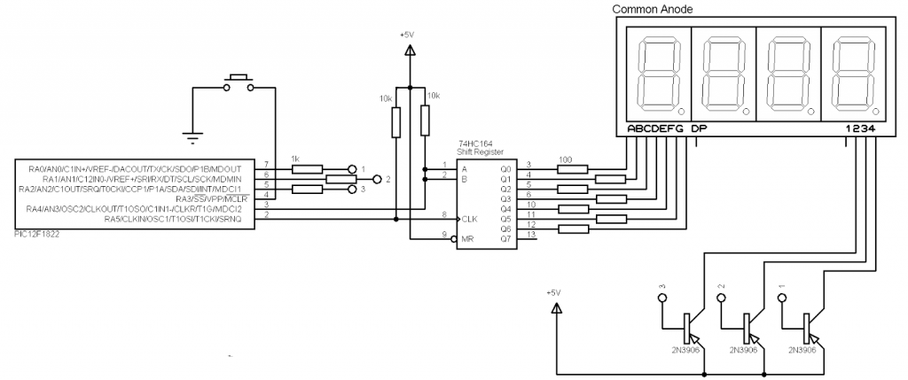 PIC12F1822 7-segment display interface circuit
