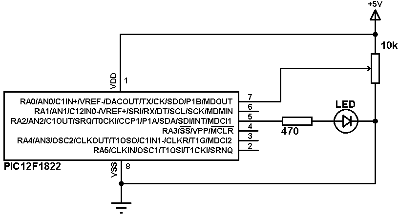 PIC12F1822 ADC PWM modules example circuit