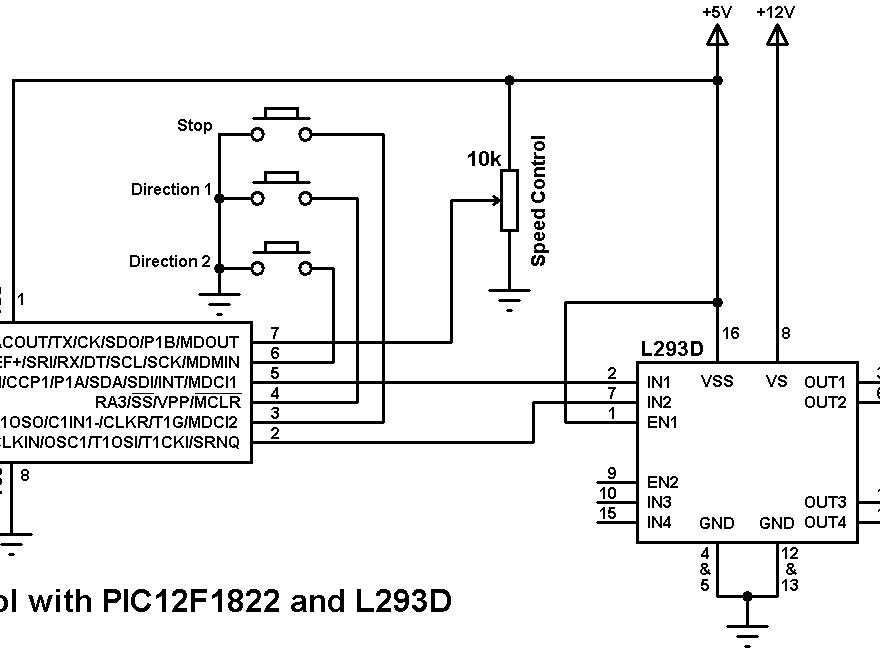 PIC12F1822 DC motor control L293D circuit