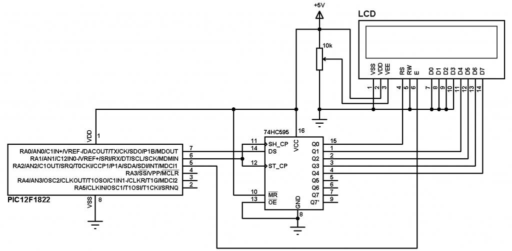 PIC12F1822 LCD example circuit
