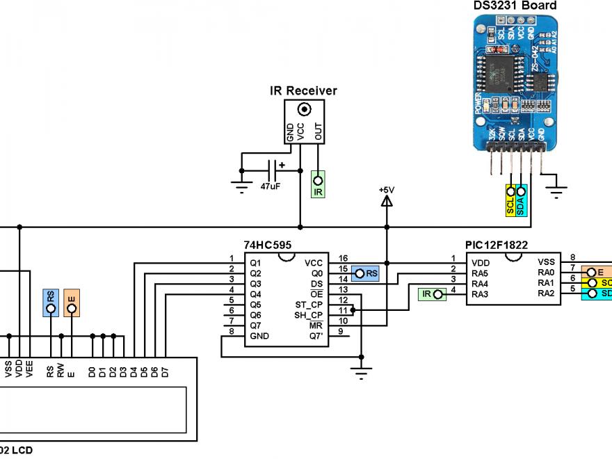 PIC12F1822 DS3231 remote control circuit